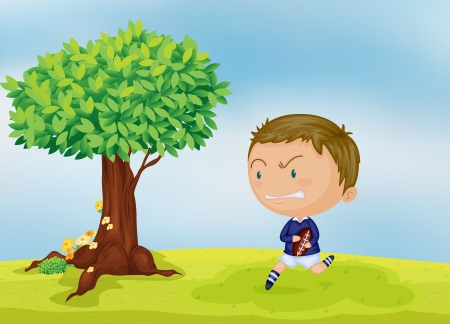 illustration of a boy and a tree in beautiful nature Vector