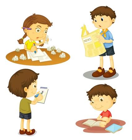 niños escribiendo: ilustración de un período de cuatro niños en un fondo blanco Vectores