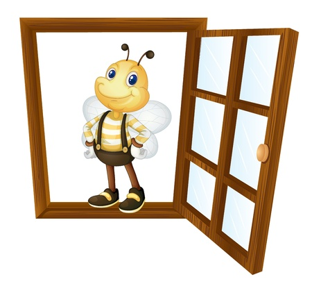 bee house: detailed illustration of a bee in a window Illustration
