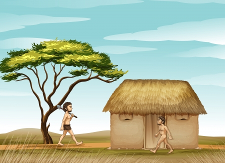 neanderthal: illustration of mens and a house in a beautiful nature Illustration