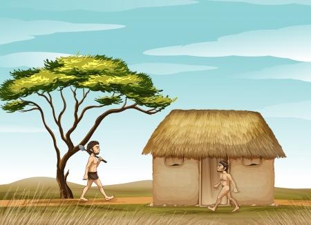 caveman: ilustraci�n del hombre y una casa en una hermosa naturaleza