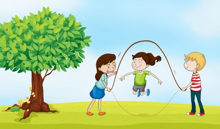 illustration of kids and a tree in a beautiful nature Illustration