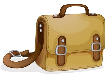 leather belt: illustration of a brown bag on a white background Illustration