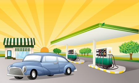 illustration of a house and gas station in a beautiful nature Vector