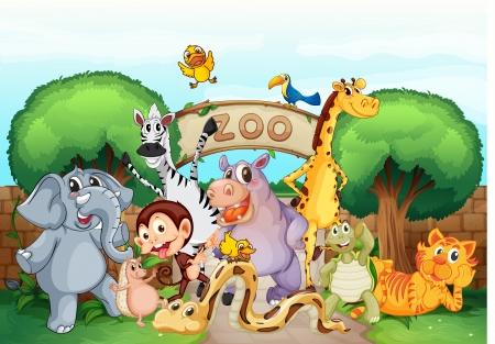 illustration zoo: illustrazione di uno zoo e gli animali in una natura bellissima Vettoriali