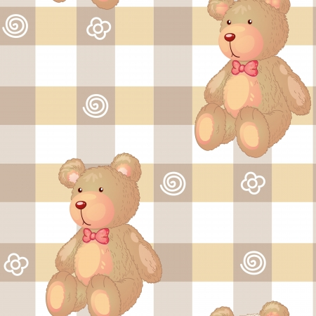 plush: illustration of a bear on a color background