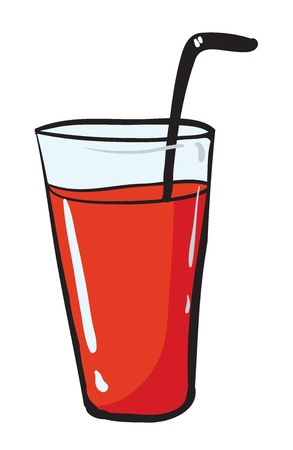 rasberry: illustration of a glass and a straw on white background Illustration