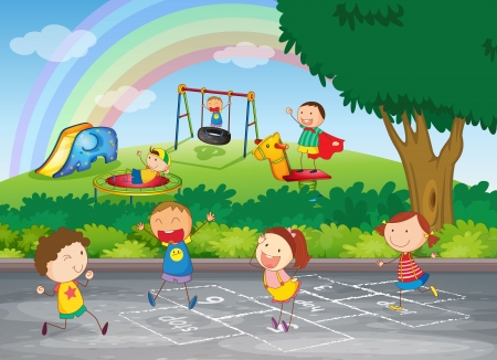 kids garden: illustration of kids playing in a beautiful nature Illustration