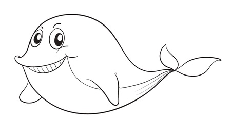 outline drawing of fish: illustration of a fish on a white background