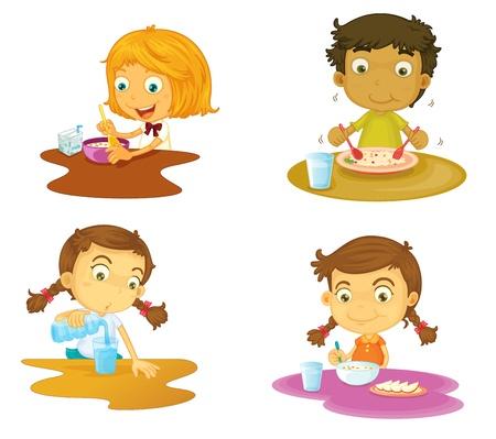 niños comiendo: ilustración de cuatro niños que tienen comida en el fondo blanco
