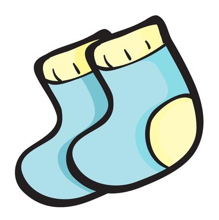 socks: ilustración de calcetines azules sobre un fondo blanco Vectores