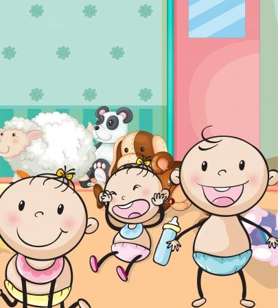 wenen: illustratie van baby's en dieren speelgoed in de kamer Stock Illustratie