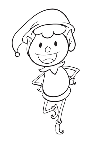 elf hat: illustration of a boy sketch on a white background
