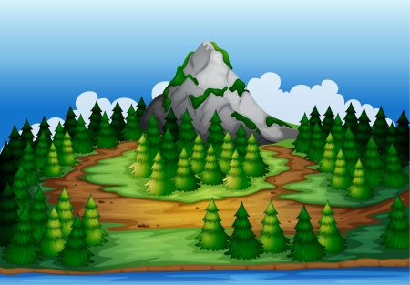 illustration of a beautiful nature scene and a mountain Vector