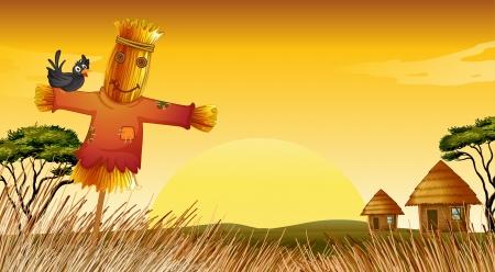 illustratie van de mens standbeeld in boerderij adn boerderij