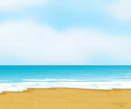 rural scenes: illustration of an ocean and a beach in a beautiful nature