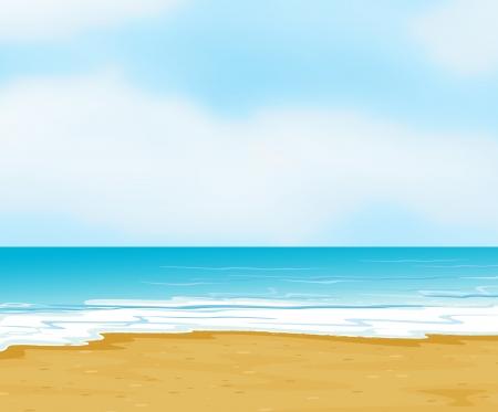 ilustración de un océano y una playa en una hermosa naturaleza
