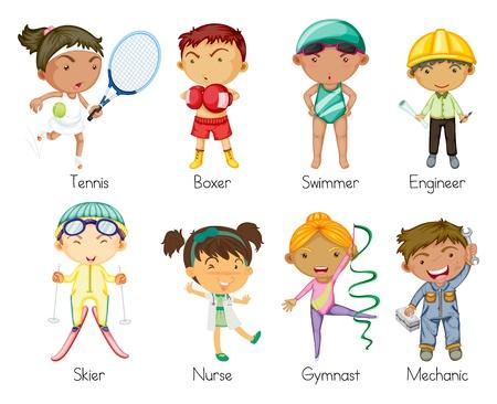 professions: ilustraci�n de ni�os de diversos deportes sobre un fondo blanco