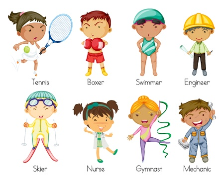 narciarz: ilustracji z różnych sportowych dzieci na białym tle