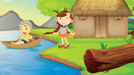 family picnic: illustration of kids and a boat in a beautiful nature