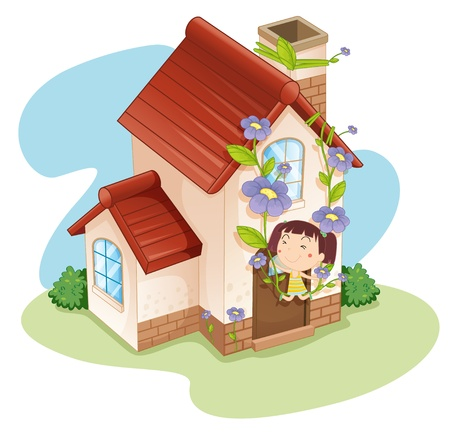 cute house: illustration of a girl and house on a white background