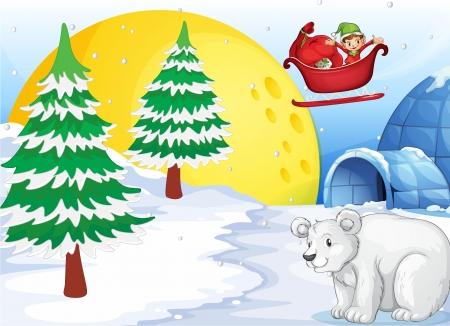 тундра: Иллюстрация иглу, белого медведя и Луны Иллюстрация