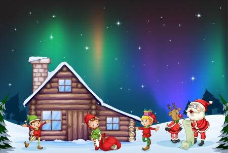 duendes de navidad: ilustración de Papá Noel, los niños y los renos en la naturaleza