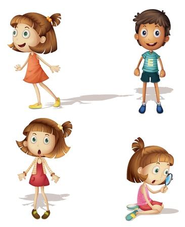 constat: illustration de quatre enfants sur un fond blanc