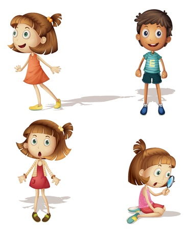 illustration of four kids on a white background Vector