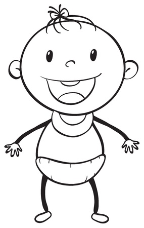 illustration of a baby sketch on a white background Vector