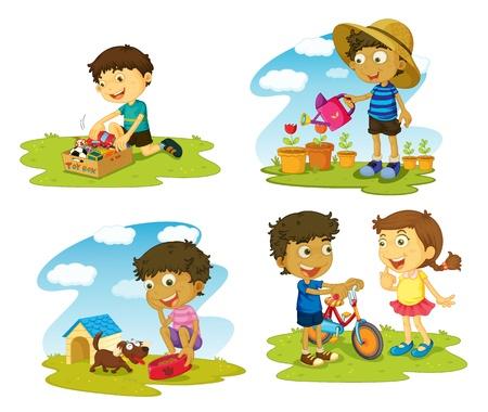 illustratie van kinderen op een witte achtergrond