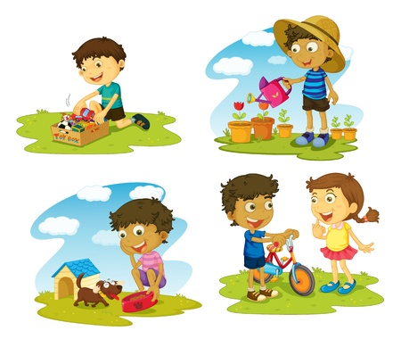 animal feed: illustration of kids on a white background Illustration