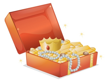 silver jewellery: illustration of a jewellery and a box on a white background Illustration