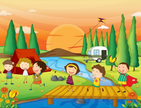young girls nature: illustration of a river, a bench and kids in a beautiful nature