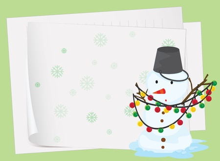 illustration: illustration of paper sheets and a snowman on a green background