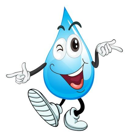 conservacion del agua: ilustración de una gota de agua sobre un fondo blanco Vectores