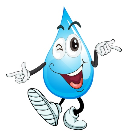 conservacion del agua: ilustraci�n de una gota de agua sobre un fondo blanco Vectores
