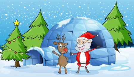 santaclause: detailed illustration of a reindeer and santaclause