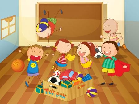 niños jugando en la escuela: ilustración detallada de los niños en un aula
