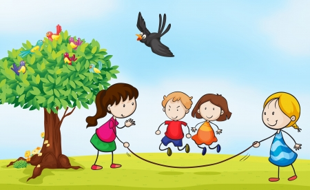 flying man: illustration of kids and a tree in a beautiful nature Illustration