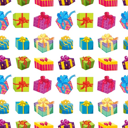 gift wrap: illustration of various gift boxes on a white background