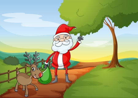 illustration of a santa claus and a reindeer in a beautiful nature Stock Vector - 15946788