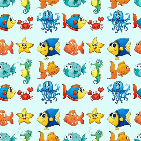 textures: illustration of a various sea animals on a white background Illustration