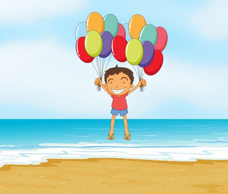illustration of an ocean and a boy in a beautiful nature Vector