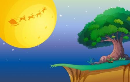 arboles de caricatura: ilustración de una luna y un árbol en una hermosa naturaleza Vectores