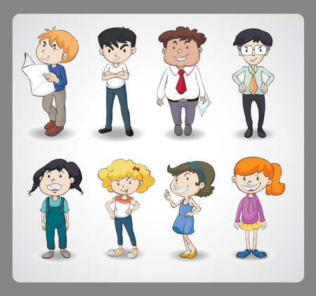illustration of various persons on a white background Vector