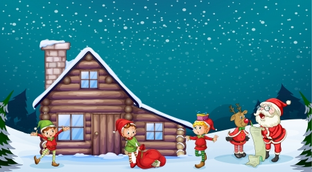 snow cap: illustration of a santa clause, kids and a reindeer in nature
