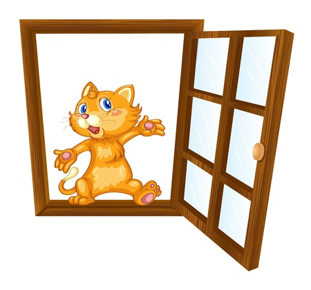 house cat: detailed illustration of a cat in a window Illustration