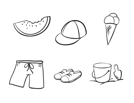 detailed sketches of various objects on a white background Vector
