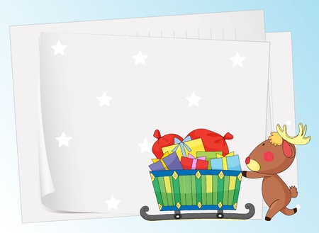 illustration of paper sheets and a reindeer on a color background Vector